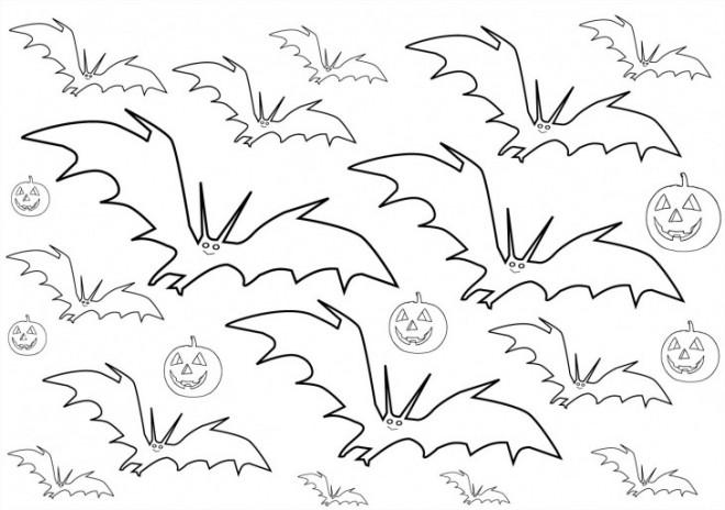 Coloriage et dessins gratuits Chauves-souris et citrouille d'Halloween à imprimer