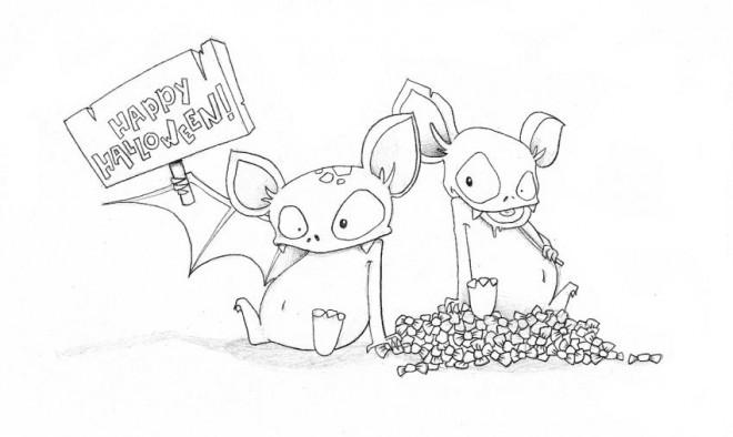 Coloriage et dessins gratuits Chauves-souris souhaitent un joyeux Halloween à imprimer