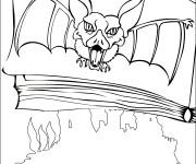 Coloriage Image de chauve-souris sur une page de livre