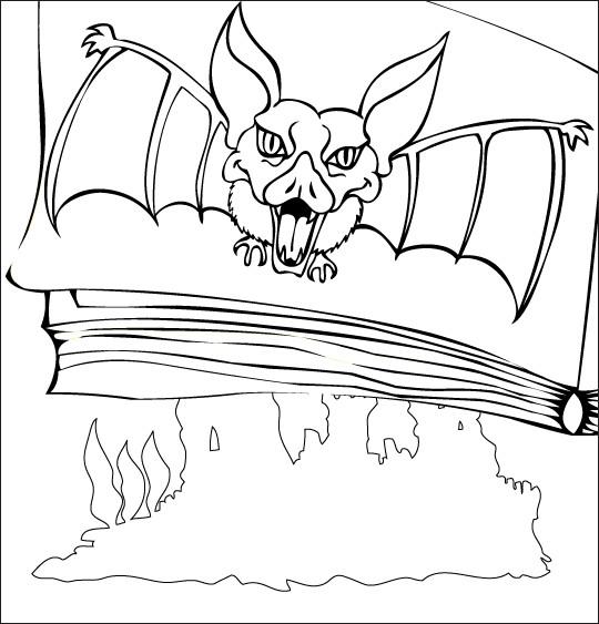 Coloriage et dessins gratuits Image de chauve-souris sur une page de livre à imprimer
