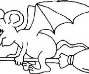 Coloriage et dessins gratuit Une souris Chauve-souris sur balaie à imprimer
