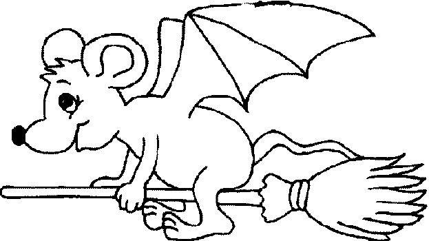 Coloriage et dessins gratuits Une souris Chauve-souris sur balaie à imprimer