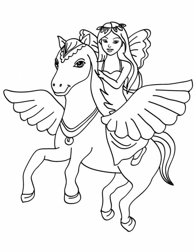Coloriage et dessins gratuits Barbie et son beau cheval magique à imprimer