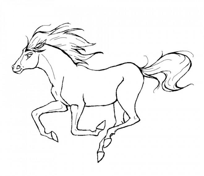 Coloriage et dessins gratuits Cheval au galop à imprimer