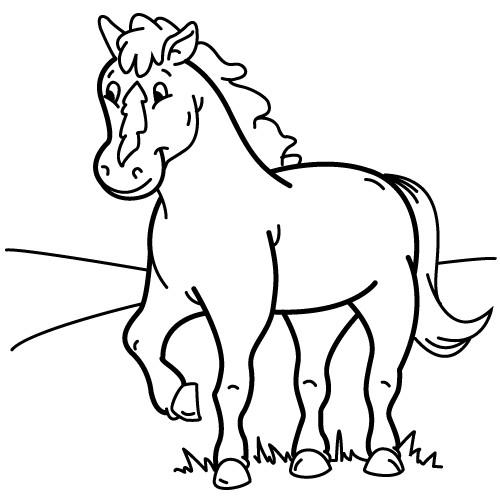 Coloriage et dessins gratuits Cheval content à imprimer