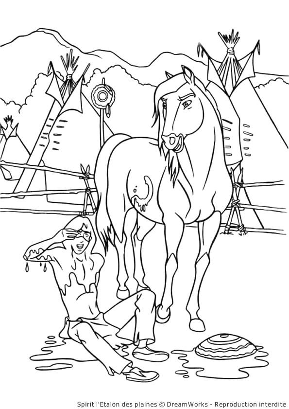 Coloriage et dessins gratuits Cheval d'indien à imprimer