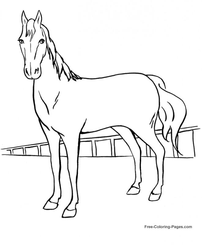 Coloriage et dessins gratuits Cheval de course dessin en ligne à imprimer