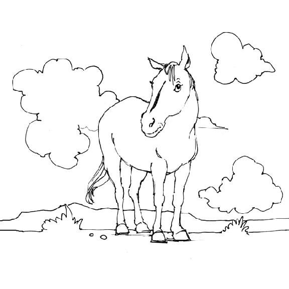 Coloriage et dessins gratuits Cheval en plein air à imprimer