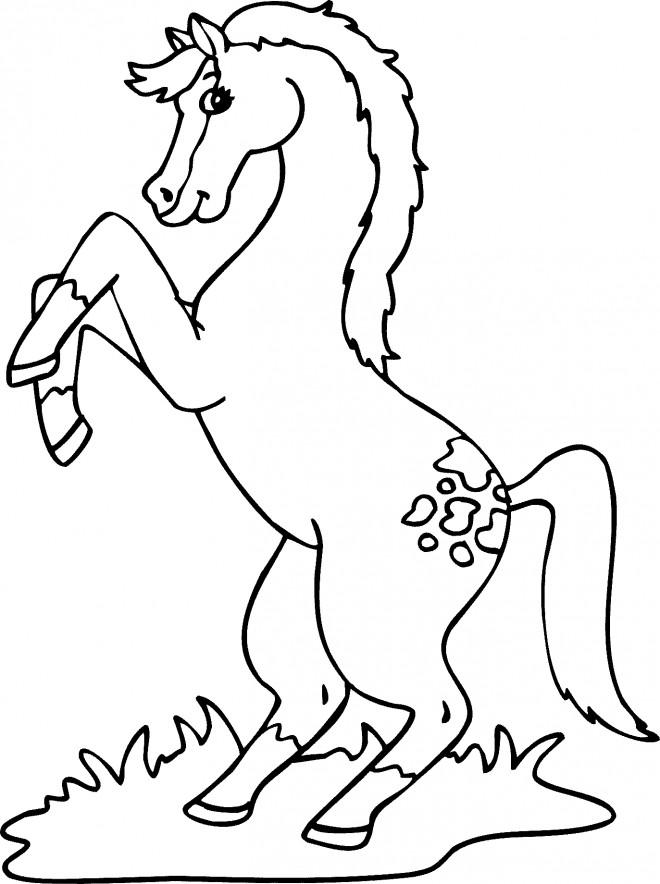 Coloriage et dessins gratuits Cheval en sautant à imprimer