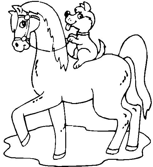 Coloriage et dessins gratuits Cheval et chien à imprimer