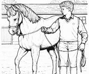 Coloriage Cheval et enfant au crayon