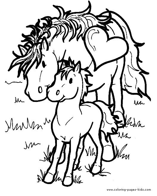 Coloriage et dessins gratuits Cheval et poulain couleur à imprimer