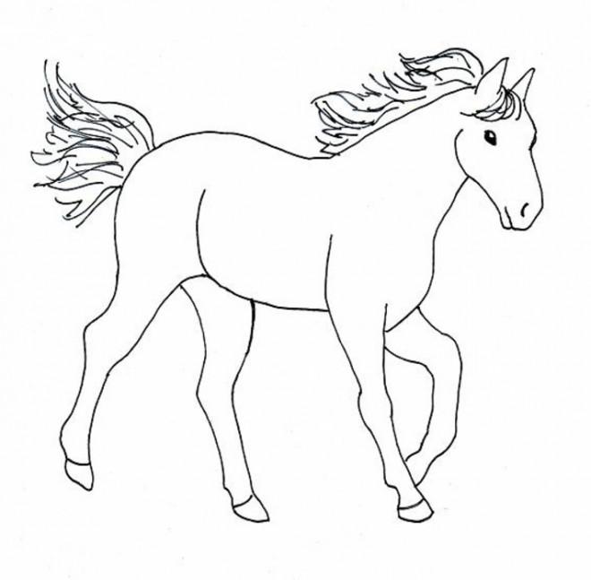 coloriage cheval facile dessin gratuit imprimer. Black Bedroom Furniture Sets. Home Design Ideas