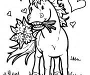 Coloriage Cheval porte un bouquet de fleur