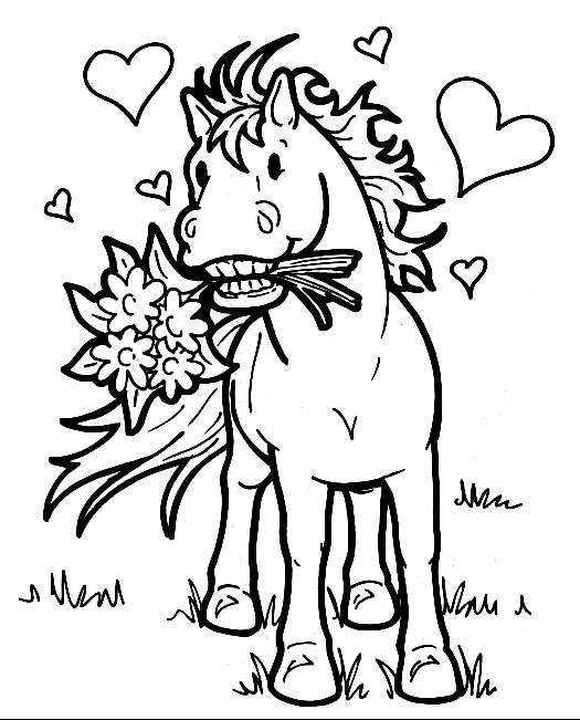 Coloriage et dessins gratuits Cheval porte un bouquet de fleur à imprimer