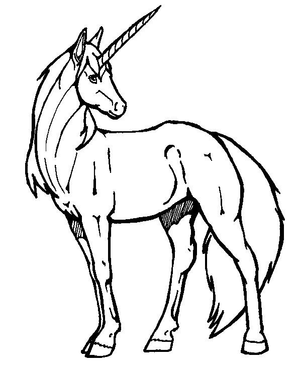 Coloriage et dessins gratuits Cheval Unicorne imaginaire à imprimer