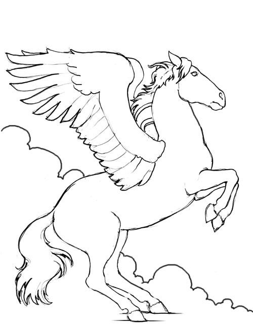 Coloriage et dessins gratuits Cheval volant à imprimer