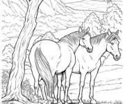 Coloriage et dessins gratuit Chevaux dans la forêt à imprimer