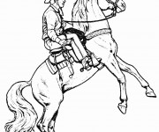 Coloriage Cowboy Cheval