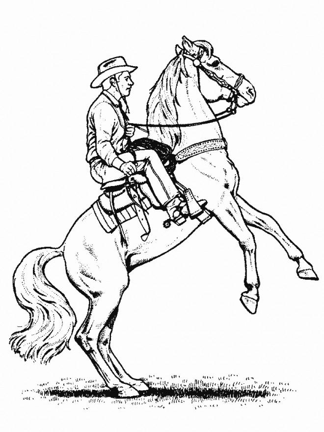Coloriage et dessins gratuits Cowboy Cheval à imprimer
