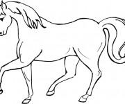 Coloriage et dessins gratuit Dessin de Cheval galopant à imprimer