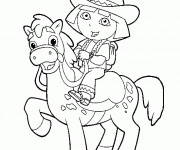 Coloriage Dora sur son cheval