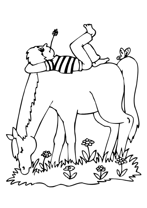 Coloriage et dessins gratuits Enfant dort sur son cheval à imprimer