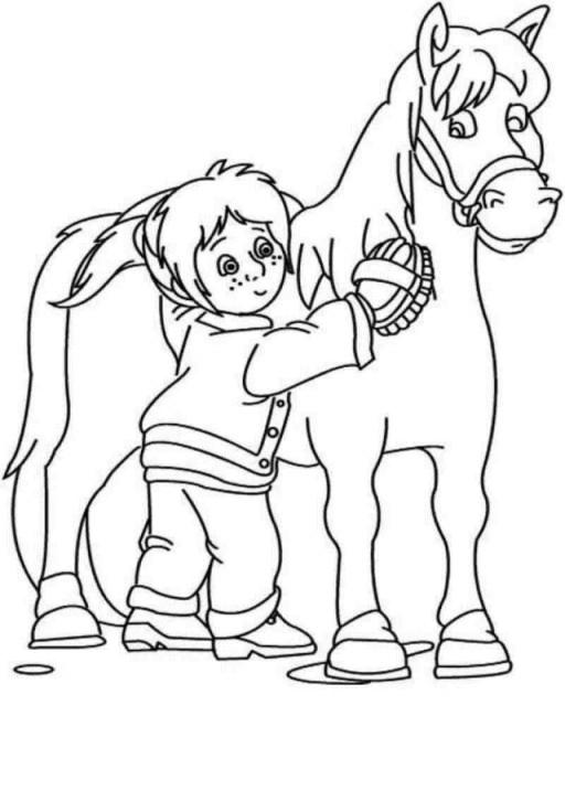 Coloriage et dessins gratuits Fille soigne son cheval à imprimer