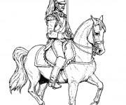 Coloriage Guerrier sur son cheval
