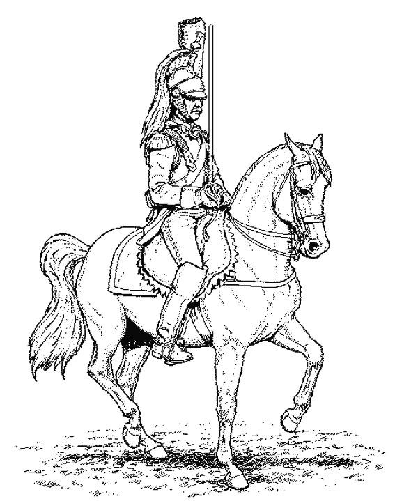 Coloriage et dessins gratuits Guerrier sur son cheval à imprimer