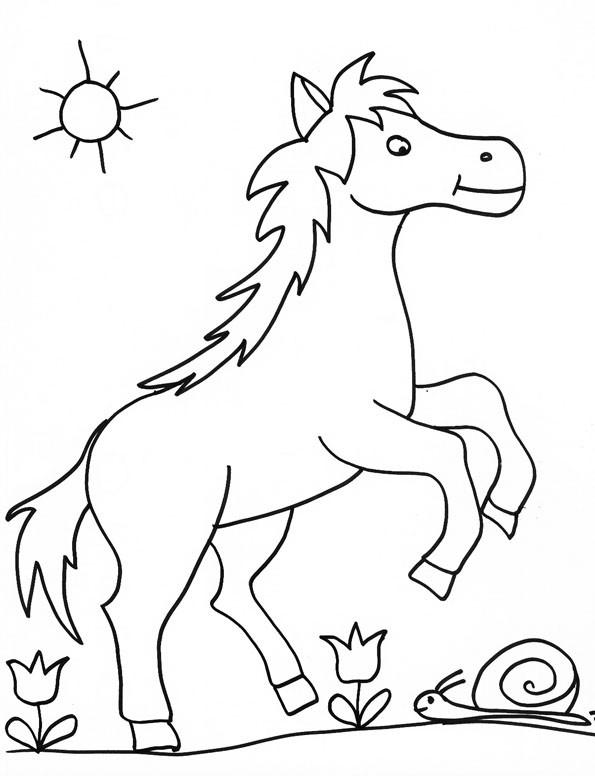 Coloriage et dessins gratuits Le cheval et l'escargot à imprimer