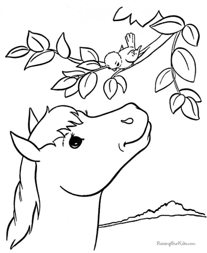 Coloriage et dessins gratuits Le cheval parle avec l'oiseau à imprimer