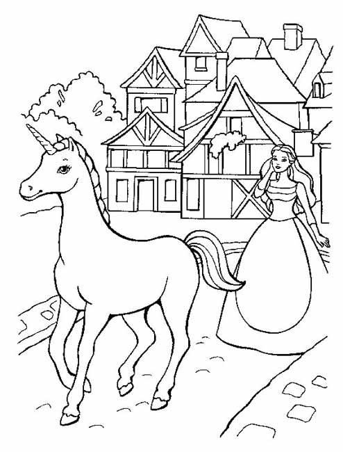 Coloriage et dessins gratuits Le cheval Unicorne et la princesse à imprimer