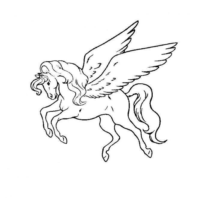 Coloriage et dessins gratuits Le cheval volant dessin animé à imprimer