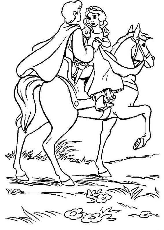 Coloriage et dessins gratuits Le prince porte sa princesse sur son cheval à imprimer