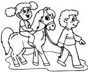 Coloriage Petite fille et enfant et leur cheval