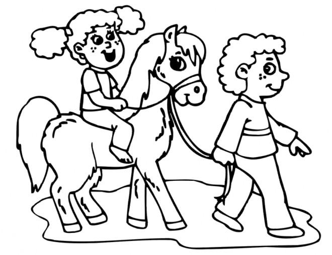 Coloriage et dessins gratuits Petite fille et enfant et leur cheval à imprimer