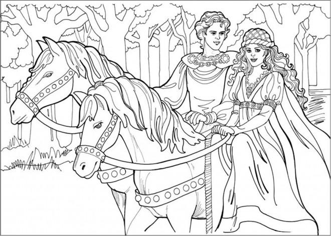 Coloriage prince et princesse sur leurs chevaux dessin - Coloriage princesse des neiges ...