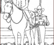 Coloriage Un cheval de course gagnant