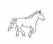 Coloriage un petit dessin de Cheval qui galop
