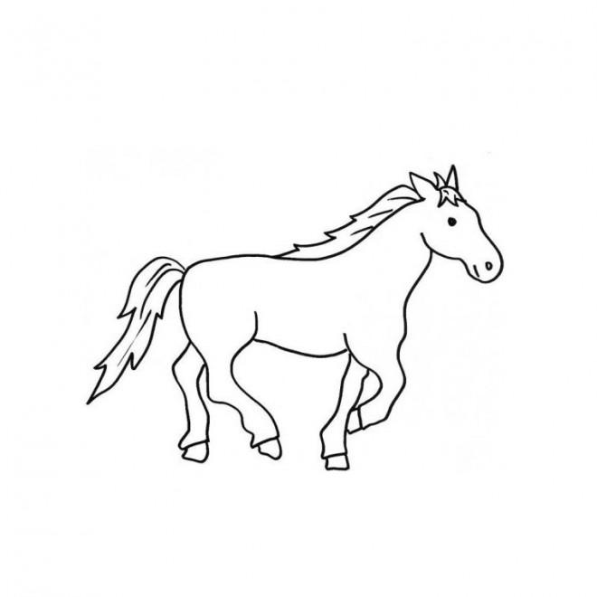 Coloriage un petit dessin de cheval qui galop dessin - Cheval a dessiner facile ...