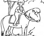Coloriage Une fille sur un Cheval
