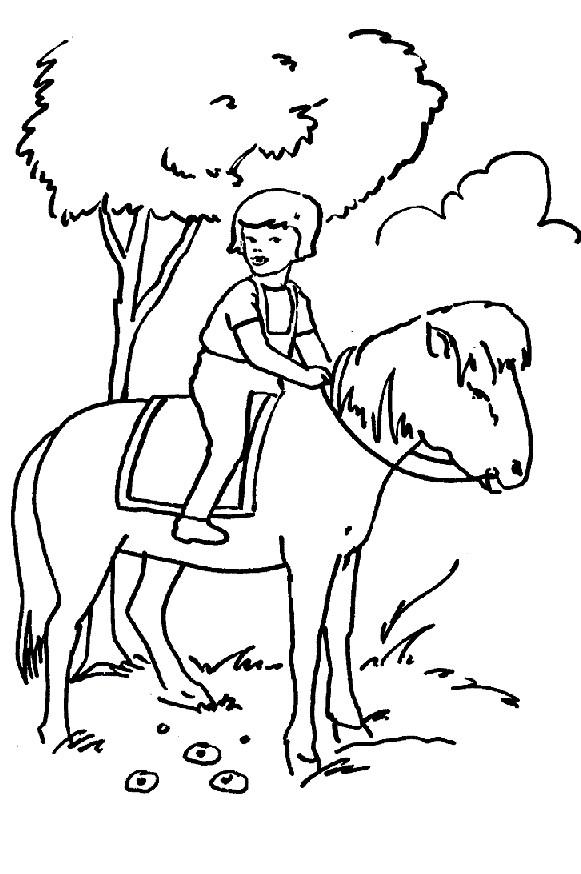 Coloriage et dessins gratuits Une fille sur un Cheval à imprimer