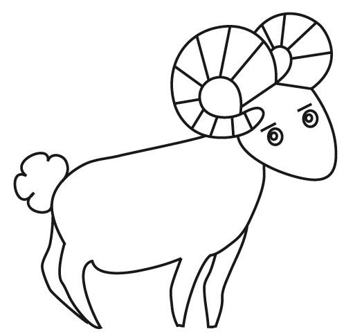 Coloriage et dessins gratuits Chèvre avec beaux cornes à imprimer