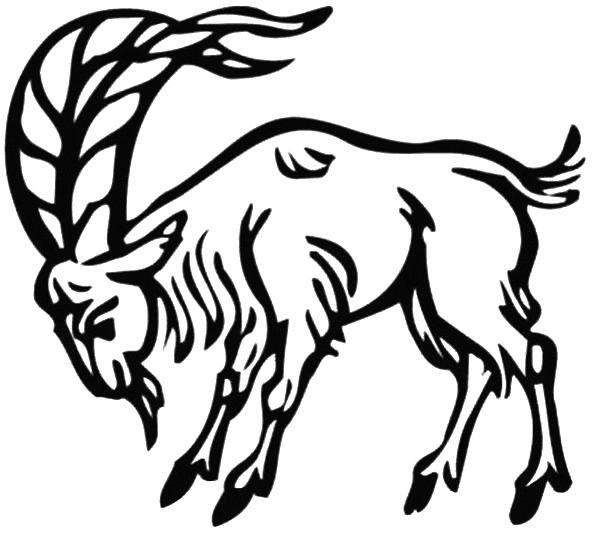 Coloriage et dessins gratuits Chèvre avec grosse cornes à imprimer