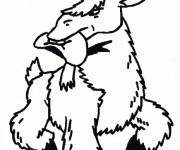 Coloriage Chèvre avec un chapeau