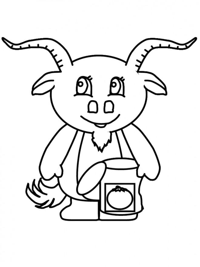 Coloriage et dessins gratuits Chèvre cuisinier à imprimer