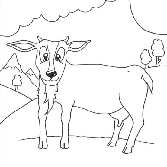 Coloriage et dessins gratuits Chèvre dans la nature à imprimer