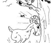 Coloriage Chèvre et oiseau