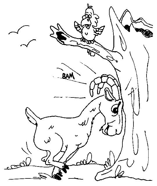 Coloriage et dessins gratuits Chèvre et oiseau à imprimer